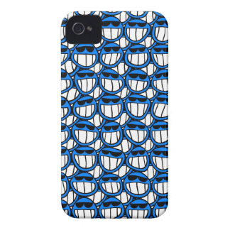 Funny Blue Smiley Faces with Shades iPhone 4 Case-Mate Case