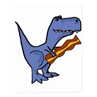 Funny Blue T-rex Dinosaur Eating Bacon Art Postcard