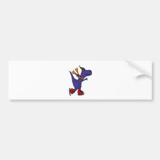 Funny Blue T-Rex Dinosaur Ice Skating Art Bumper Sticker