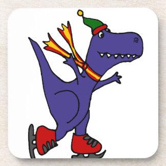 Funny Blue T-Rex Dinosaur Ice Skating Art Drink Coaster