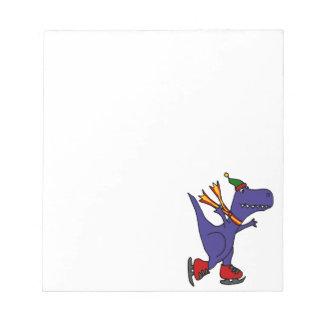 Funny Blue T-Rex Dinosaur Ice Skating Art Notepad