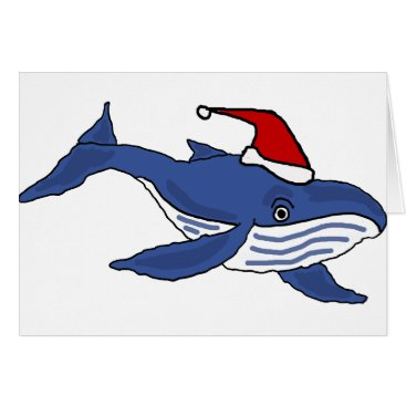 Christmas Themed Funny Blue Whale in Santa hat Christmas Art Card