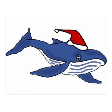 Christmas Themed Funny Blue Whale in Santa hat Christmas Art Postcard