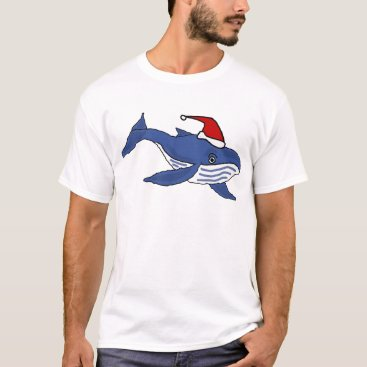 Christmas Themed Funny Blue Whale in Santa hat Christmas Art T-Shirt