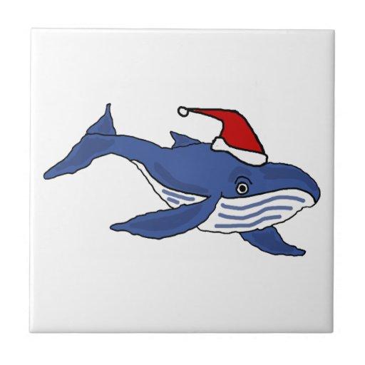Funny Blue Whale in Santa hat Christmas Art Ceramic Tiles