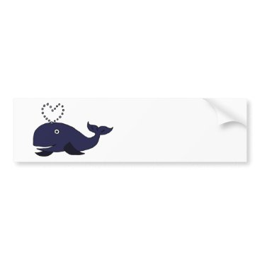 Beach Themed Funny Blue Whale with Heart Spout Bumper Sticker