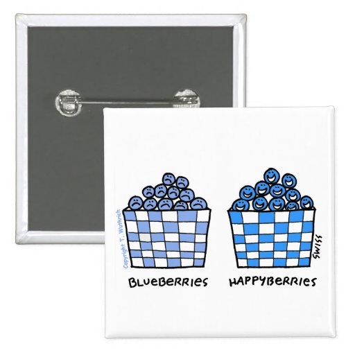 Funny Blueberries Cartoon Button