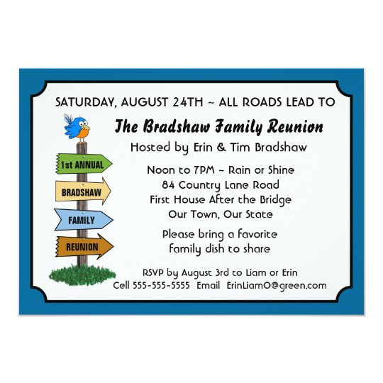 Funny Bluebird Family Reunion Invitation  Invitations For Family Reunion