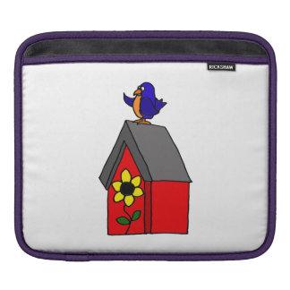 Funny Bluebird on Birdhouse Sleeves For iPads