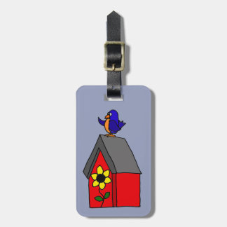 Funny Bluebird on Red Bluebird House Luggage Tag