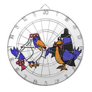 Funny Bluebirds Bride and Groom Wedding Dart Board