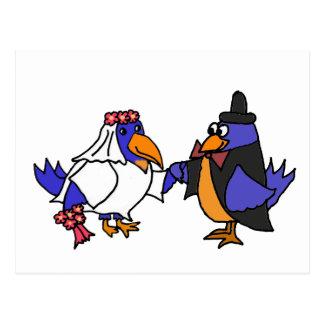Funny Bluebirds Bride and Groom Wedding Postcard