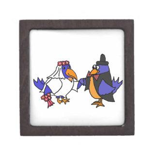 Funny Bluebirds Bride and Groom Wedding Premium Trinket Box