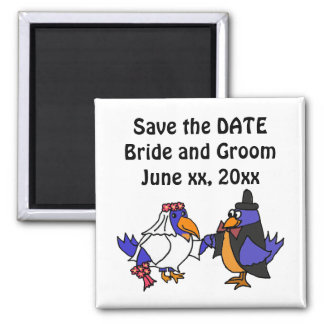 Funny Bluebirds Wedding Bride and Groom Art 2 Inch Square Magnet