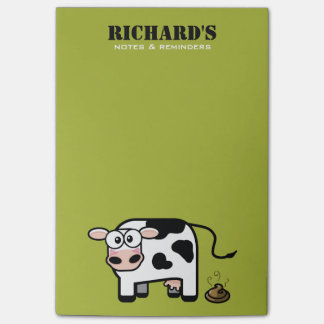 Funny Blushing Pooping Cow Illustration Post-it® Notes