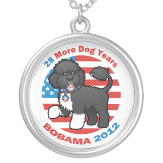 Funny Bobama the Dog 2012 Elections Silver Plated Necklace