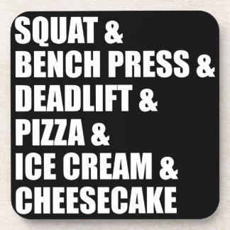 Funny Bodybuilding Gym Pizza Ice Cream Cheese Cake Coaster