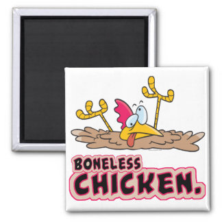 funny boneless chicken cartoon 2 inch square magnet