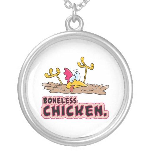 funny boneless chicken cartoon round pendant necklace