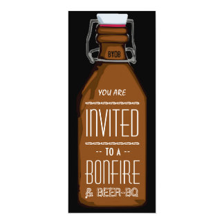Funny Bonfire & Beer BQ Barbecue Engagement Party 4x9.25 Paper Invitation Card