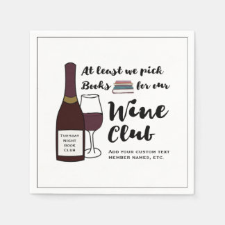 Funny Book Club | Drink Wine Club Girls Night Out Napkin