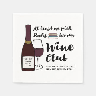 Funny Book Club | Drink Wine Club Girls Night Out Paper Napkin