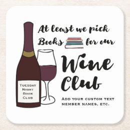 Funny Book Club | Drink Wine Club Girls Night Out Square Paper Coaster