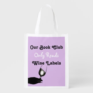 Funny book club sayings | Purple personalized Reusable Grocery Bag