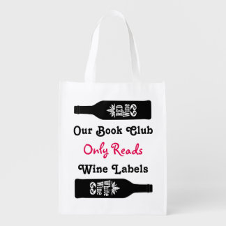 Funny book club wine sayings | Personalized Grocery Bag