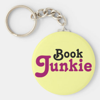 Funny Book Junkie Reading Gift Basic Round Button Keychain