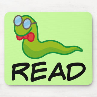 Funny Bookworm READ Gift Mouse Pad