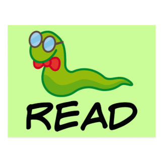 Funny Bookworm READ Gift Postcard