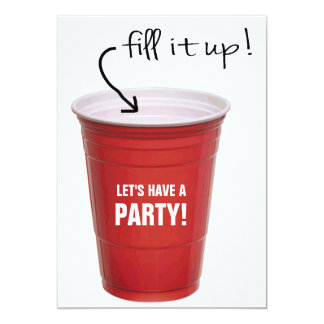 Funny Booze Cup Let's Have a Party 5x7 Paper Invitation Card