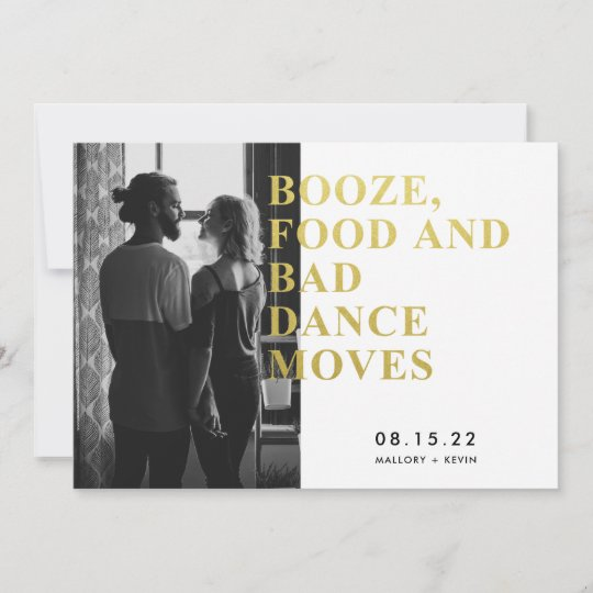 funny booze food bad dance moves save the date