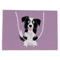 Funny Border Collie Puppy Dog Art Large Gift Bag