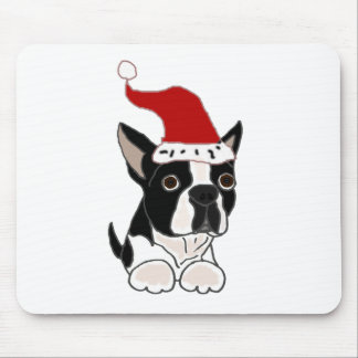 Funny Boston Terrier Christmas Art Mouse Pad