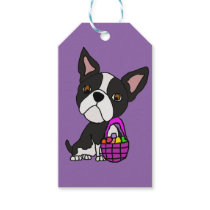 Funny Boston Terrier Dog with Easter Basket Gift Tags