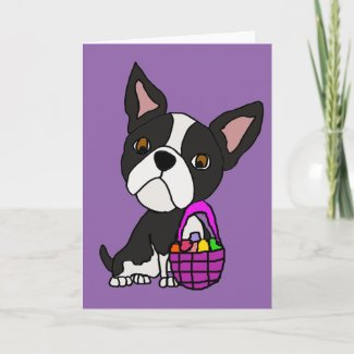 Funny Boston Terrier Dog with Easter Basket Holiday Card