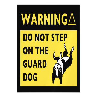 Funny Boston Terrier Guard Dog Warning Magnetic Card