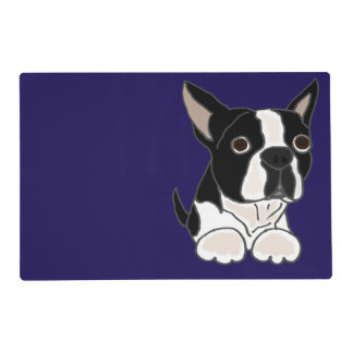 Funny Boston Terrier Puppy Dog Art Placemat