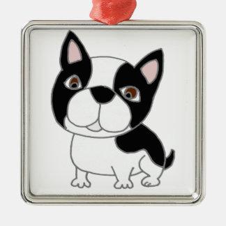 Funny Boston Terrier Puppy Dog Cartoon Metal Ornament