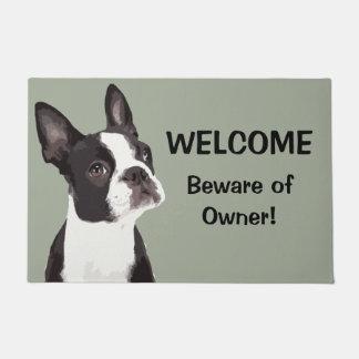 Funny Boston Terrier Welcome Door Mat