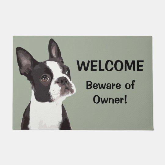 Funny Boston Terrier Welcome Door Mat Zazzle Com