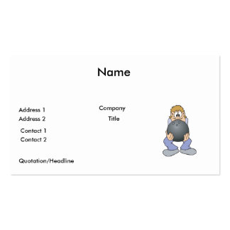 funny bowler with BIG bowling ball Business Card