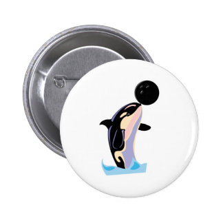 funny bowling ball orca pinback button