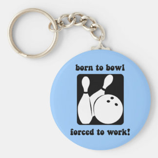 Funny bowling basic round button keychain