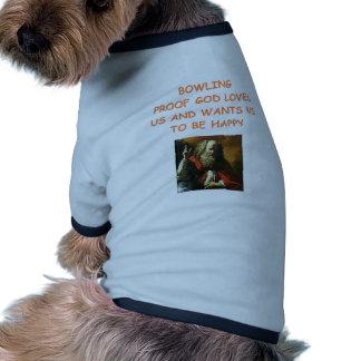 funny bowling joke doggie tee shirt