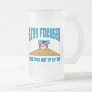 Funny Bowling Keep Mind Out Of Gutter 16 Oz Frosted Glass Beer Mug
