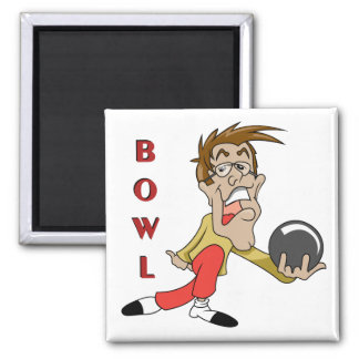 funny bowling man cartoon character 2 inch square magnet