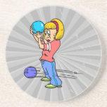 funny bowling mishap cartoon humor graphic coasters